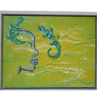 Smamyot  Original  Artwork , Acrylic paiting on canvas,Modern  wall hanging , decor for your home,green acrylic painting***Free shipping