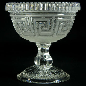Frosted and Pressed Glass Ice Cream Bowl Antique English Victorian 19th Century