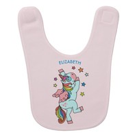 Cute Dancing Unicorn With Wings And Stars Baby Bib