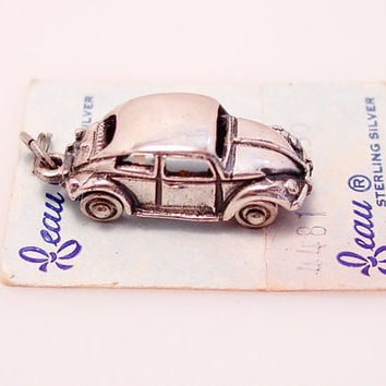 VW Beetle Car Charm Beau Sterling Silver on Card Vintage