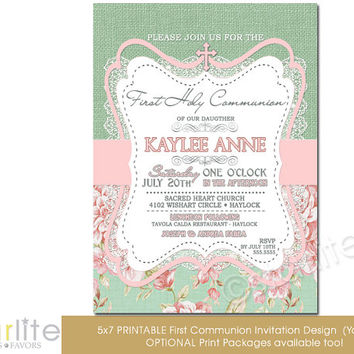 First Communion Invitation - Girl - burlap lace pink green floral - 5x7 vintage style, typography, - unique communion invitation - You Print