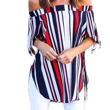 Women's Navy, Red, White Striped Off the Shoulder 3/4 Sleeve Blouse with Tie Detail