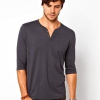 ASOS 3/4 Sleeve T-Shirt With Notch Neck - Washed black