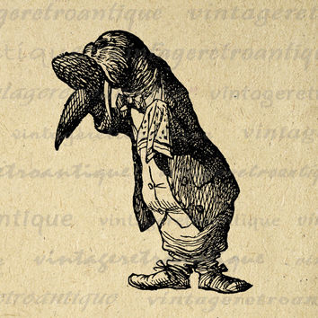 Digital Graphic Alice in Wonderland The Walrus Download Image Printable Antique Clip Art for Transfers etc HQ 300dpi No.1871