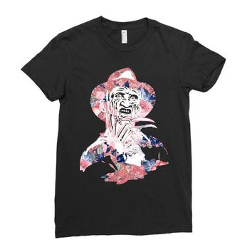 freddy krueger floral Ladies Fitted T-Shirt