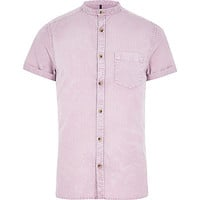 River Island MensPink acid wash grandad Oxford shirt