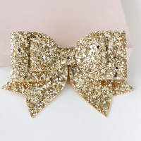 Oversized Large pale gold glitter fabric bow hair clip with tags down!!! Can be made in any colour!