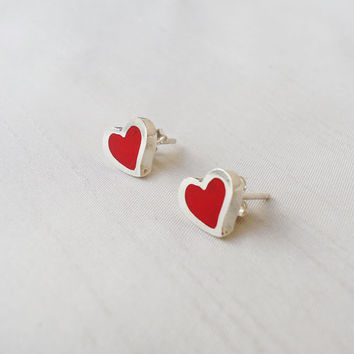 Red Hearts Sterling Silver Stud Earrings - Original Small Hearts silver and red post studs - Contemporary Jewelry