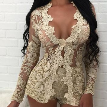 Golden Floral Embroidery Lace Deep V-neck Two Piece Club Blazer And Shorts