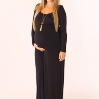 Stay Longer Maternity Dress in Black