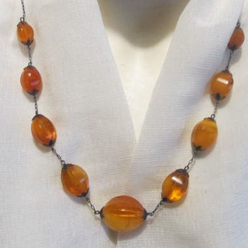 100% Natural #Antique Genuine #Baltic #Amber #Necklace, 28.8 grams yellow polished  9 beads faceted transparent with #Silver for adult