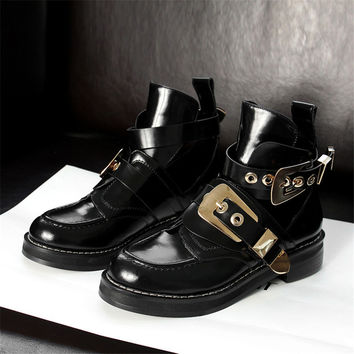 women cut out hardware buckle Motorcycle boot punk full grain leather ankle boots sandals