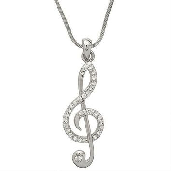 PEAPGQ9 Large Gemmed Clef Note Necklace