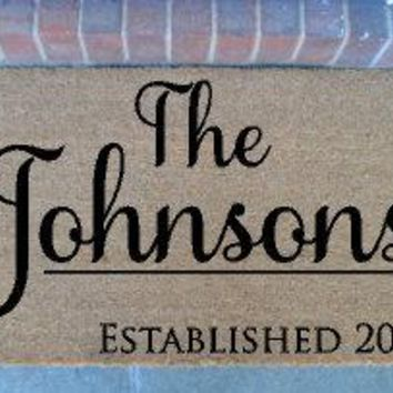 Custom last name mat | personalized doormat | cute doormat | door mat | outdoor doormat | wedding gift | housewarming gift