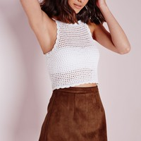 FAUX SUEDE A LINE SKIRT TAN