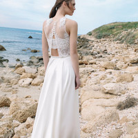 Elegant and  2 Piece Wedding Dress, Halter Lace Crop Top and Full circle Mat Satin Skirt with Pockets, Boho Wedding Dress, Open Back