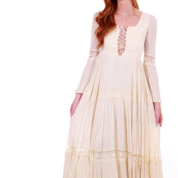 70s Vintage Gunne Sax Maxi Dress Ivory Cotton Gauze Muslin Lace Corset Long Sleeve Wedding Gown Gypsy Hippie Boho Chic Clothing Womens XS