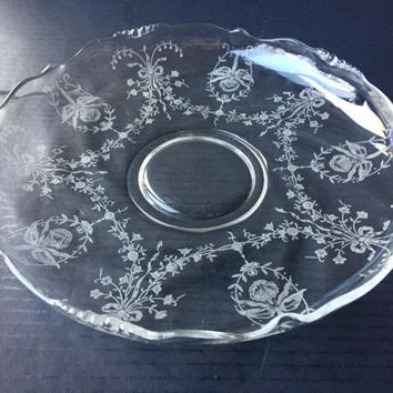 "Heisey Orchid 12"" Gardenia Bowl Etched Orchid Pattern"