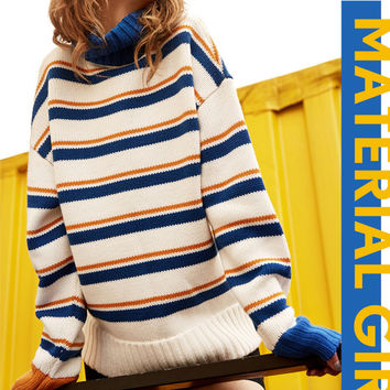 Fashion Casual Stripe Loose Pullover Turtleneck Sweater