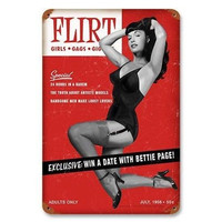Retro-a-go-go! Flirt Bettie Page Metal Sign
