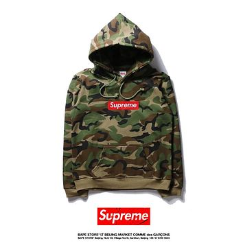2017 Supreme Camouflage Hooded Sweater Plus Velvet Sweater S-XXL