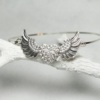 Rock and Roll Winged Heart Wire Bangle - Silver Tone Bracelet