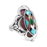 Relios Sterling Silver Rhodonite with Turquoise Inlay Ring