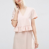 ASOS Short Sleeve Double Layer Ruffle Dress at asos.com