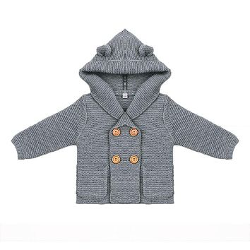 Baby Boy Knitting Cardigan Solid Color Autumn Winter Sweaters for Girls Children Long Sleeve Hooded Coat Outwear Kids Clothing