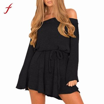 FEITONG Autumn Winter Jumper Dress Womens Ladies Long Sleeve Off Shoulder Casual Black Empire Loose knitted Dress with Slash