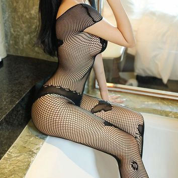 Black Butterfly Graphics Mesh Hot Sexy Bodysuit Fishnet Net BodyStockings Sexy Teddies Bodysuits For Woman Hot Sell 2018