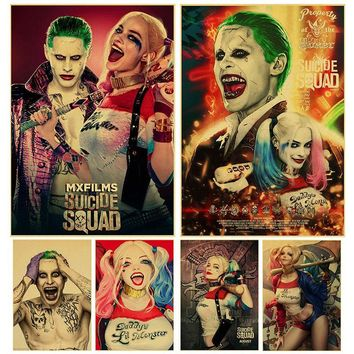 Suicide Squad poster kraft paper printed Harley Quinn and The Joker art Poster Retro Kraft Paper Bar Home Decor Painting