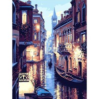 Frameless Night Of Venice Landscape DIY Digital Painting By Numbers Acrylic Paint By Numbers Modern Wall Art Picture For Gift