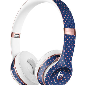 Micro Coral Stars Over Navy Pattern 2 Full-Body Skin Kit for the Beats by Dre Solo 3 Wireless Headphones