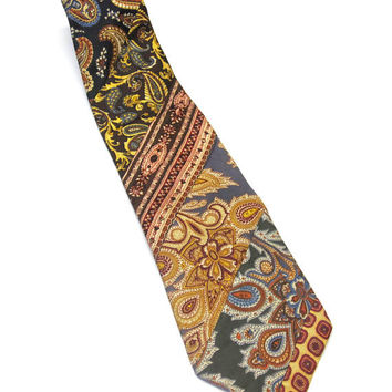 Paisley Neck Tie Blue Rust Gray Necktie