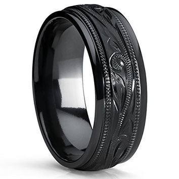 Men's Hand Engraved Floral Black Plated Titanium Wedding Band Engagement Ring, Dome 8mm | FREE ENGRAVING