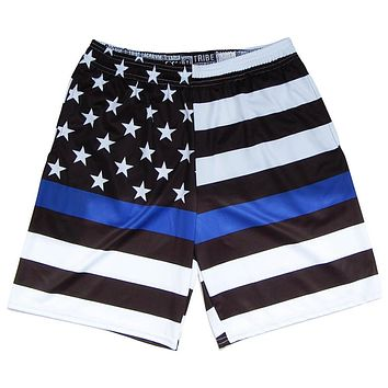 Police American Flag Lacrosse Shorts