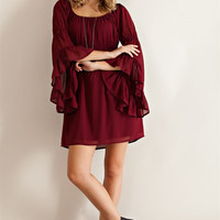 Ruffled Sleeve Empire Dress - Wine