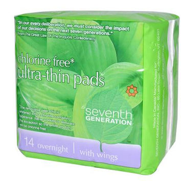 Seventh Generation Ultra Thin Overnight Pads -12x14 CT-
