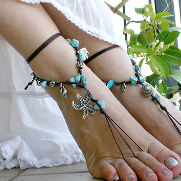 Barefoot sandles, Bohemian foot jewelry, Hippie Barefoot sandal with mother of pearls and metallic beads, barefoot sandles, bare foot sandal