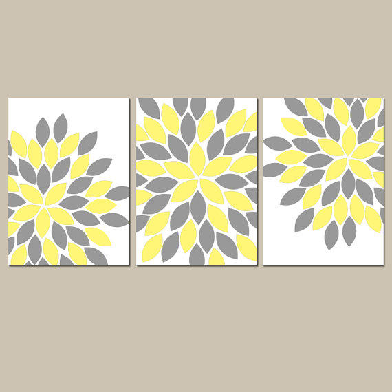 YELLOW GRAY Wall Art CANVAS or Prints from TRM Design | Wall Art