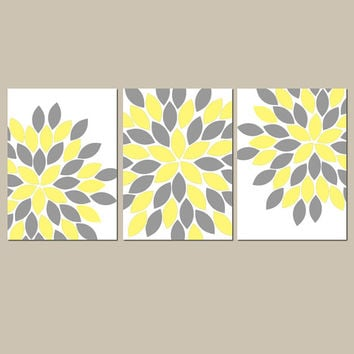 YELLOW GRAY Wall Art CANVAS or Prints Girl Nursery Bedroom Wall Art Bathroom Pictures Flower Petal Burst Dahlia Bloom Set of 3 Home Decor