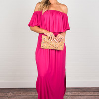 Beauty In Barbados Maxi Dress, Fuchsia
