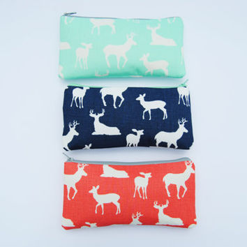 Deer makeup bag, deer pencil pouch, mint and navy bag, zipper pouch, makeup brush bag, preppy makeup bag, elk bag, small coin purse