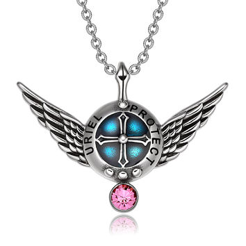 Archangel Uriel Angel Wings Protection Shield Magic Powers Charm Pink Crystal Pendant 22 inch Necklace