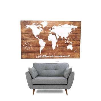 Wood World Map Wall Art / Large Wall Art Map / Reclaimed Wood / Wood Wall Art / Wood Signs / RiversideStudio / Rustic Pallet Wood Furniture