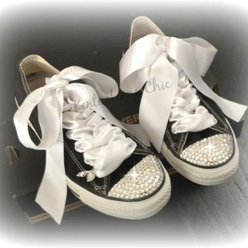 Black and White Swarovski Blinged Converse: Adult sizes