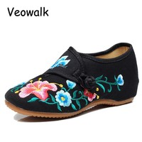 Veowalk Big Size 34-41 Morning Glory Cloth Shoes Chinese Totem Flats Mary Janes Embroidery Casual Women Shoes  Zapato Mujer