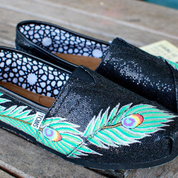 Black Glitter Peacock Feather TOMS shoes by BStreetShoes on Etsy