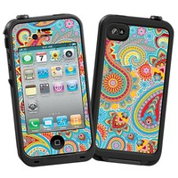 Aqua Blue and Sunshine Paisley Skin  for the iPhone 4/4S Lifeproof Case by skinzy.com